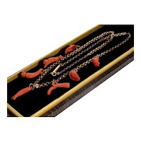 Antique Georgian 9K Gold Carved Salmon Coral Good Luck Charms Necklace