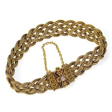 Antique Victorian Etruscan Revival 14K Braided Bracelet Fox Tail Chains Diamond
