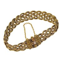 Antique Victorian Etruscan Revival 14K Braided Bracelet Fox Tail Chains Diamond
