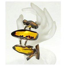 Vintage Designer's Modernist Chunky Amber Bracelet