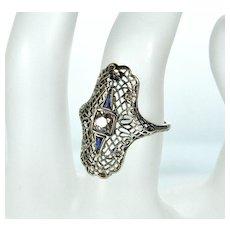 Art Deco 18K White Gold Diamond Sapphire Ring Size 5 3/4