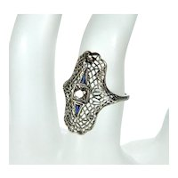 Art Deco 18K White Gold Diamond Sapphire Ring Size 5 3/4