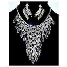 Juliana D&E Crystal Waterfal BIb Necklace Drippy Earrings  Set