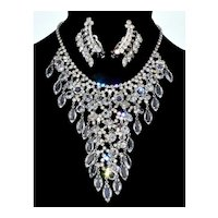 Juliana D&E Crystal Waterfal BIb Necklace Drippy Earrings  Set
