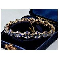Antique Victorain 9K Rose Gold Blue & White Sapphires Bracelet