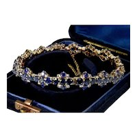 Antique Victorain 9K Rose Gold Blue & White Sapphires Bracelet