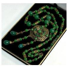 Antique Art Deco Neiger Necklace Czech Uranium Jade Glass Brass