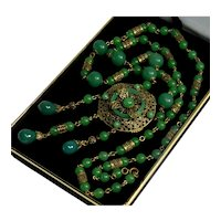 Antique Art Deco Neiger Necklace Czech Uranium Jade Glass Brass