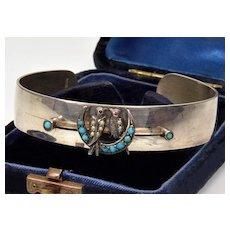 Antique Victorian Love Birds Crescent Sterling Bangle Bracelet Turquoise Seed Pearls Garnet