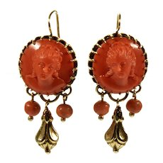 Antique Victorian 14K Gold Salmon Coral Cameo Earrings C.1860