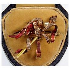 Antique Georgian French Guilloche Enamel 18K Gold Diamonds Pearl Watch Pin
