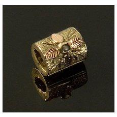 Antique Victorian 14K Gold Pearl Cylinder Slide Charm For Bracelet 001936
