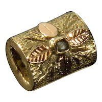 Antique Victorian 14K Gold Pearl Cylinder Slide Charm For Bracelet 001936
