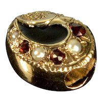 Antique Victorian 14K Rose Gold Enamel Garnet Pearl Slide Charm For Bracelet 001939
