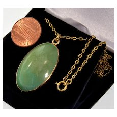 Antique Victorian Turquoise 14K Gold Pendant 18K Gold Chain Necklace