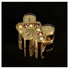 Antique Victorian 14K Rose Gold Garnet Pearl Slide Charm For Bracelet 001940