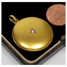 Antique Victorian 10K Gold Diamond 2-picture Locket Pendant