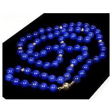 Vintage 50's 14K Gold Lapis Lazuli Bead Necklace