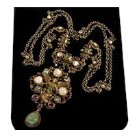 Austro-Hungarian Emerald Garnet Pearl Silver Goddess Swag Necklace