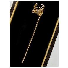 Antique Victorian 14K Deer Buck Elk Stag Head Stick Pin