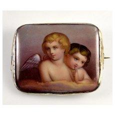 Italian Grand Tour Hand Painted Porcelain Brooch 2 Cherubs Putties Angels