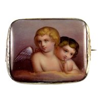Victorian Italian Grand Tour Hand Painted Porcelain Brooch 2 Cherubs Putties Angels