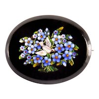 Victorian Italian Grand Tour Micro Mosaic Onyx Brooch Dove Forget-Me-Not Flowers