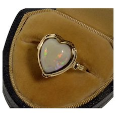 Art Deco 14K Australian Opal Heart RIng Size 6