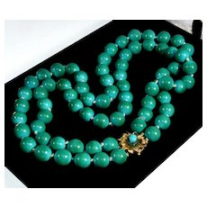 Vtg 40's Robins Egg Turquoise 14K Clasp Necklace