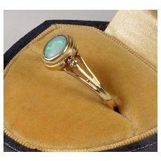 Antique Art Deco 14K Australian Opal Diamond Ring Size 6 1/4