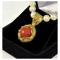 Vintage 18K Italian Orange Red Medirranean Coral Pendant Signed Made In Italy