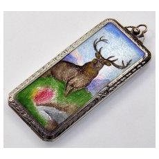 Antique Edwardian Silver Elk Enamel Locket Pendant Hello Bill Rolling Paper Box