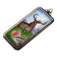 Antique Edwardian Silver Elk Enamel Locket Pendant Hello Bill Rolling Paper Box