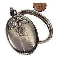 Antique Art Nouveau French Slide Locket Pendant Depose Silver Repousse Mistletoe Mirror