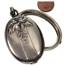 Antique Art Nouveau French Slide Locket Pendant Depose Silver Repousse Mistletoe Mirror