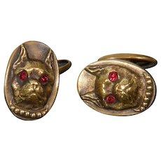 Antique Victorian Bulldog Dog Brass Paste Cufflinks
