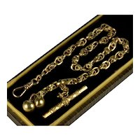 Antique Victorian 10K Gold Fancy Link T-bar Chimes Watch Chain C. 1860