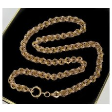 Antique Victorian 10K Gold Fancy Link Chain Necklace Unisex C.1860