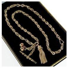 Antique Victorian 10K Tassel Chimes T-Bar Fancy Link Chain Necklace C. 1860's