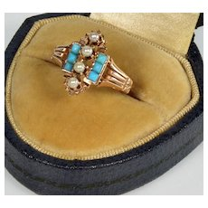 Victorian 10K Rose Gold Turquoise Pearl Ring Size 5 ¼