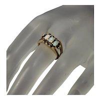 Vintage Designer 14K Australian Opal Diamond Trinity Ring Size 6 ¼