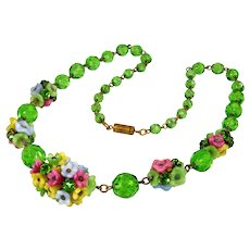 Art Deco Czech Glass Brass Flower Necklace