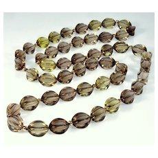 "Art Deco 14K Smoky Quartz Fancy Shape Bead Necklace 34"""