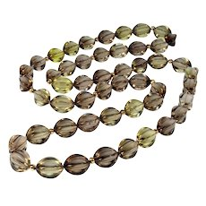 Art Deco 14K Smoky Quartz Fancy Shape Bead Necklace 34""