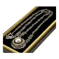 Art Deco Germany Pearl Marcasite Seed Pearls Sterling Necklace Signed
