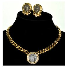 Ciner Ancient Coin Replica Earrings Necklace Set Crystals