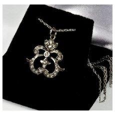 Antique Georgian Sterling Paste Bow Pendant Chain Necklace