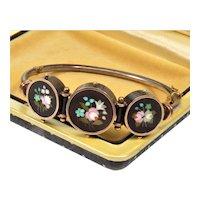 Rare Antique Victorian Italian Pietra Dura Gold Silver Bangle Bracelet