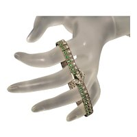Antique Art Deco Pastes Sterling 2-row Buckle Bracelet Signed Diamonbar