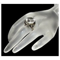 Antique Victorian Norwegian Rock Crystal Silver RIng SIze 5 1/2
